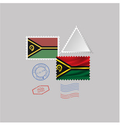 Vanuatu flag postage stamp set isolated on gray vector