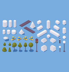 Various city elements isometric with shadows vector