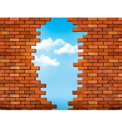 Vintage brick wall background with hole vector