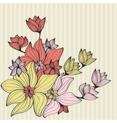 Vintage flowers in muted shades vector image
