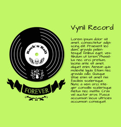 vinyl record rock and roll forever poster vector image