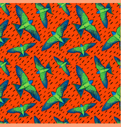 vivid birds seamless pattern colorful texture vector image