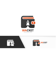 wallet and rocket logo combination purse vector image