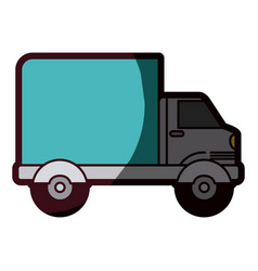 White background with truck with wagon and thick vector