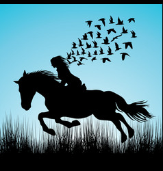 woman riding a horse and birds flying vector image
