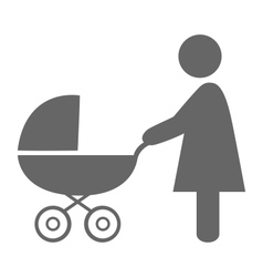 Woman with pram pictograph flat icon isolated vector