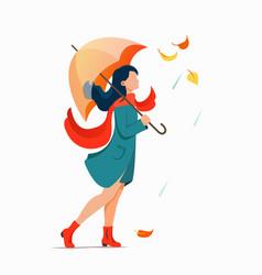 Woman with umbrella walking on street flat vector
