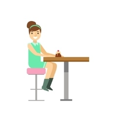 Young Woman Eating Cupcake Alone Smiling Person vector image