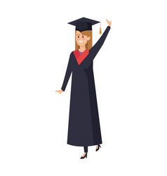 Young woman student graduated celebrating vector