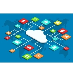 3d isometric computer cloud infographic vector image vector image