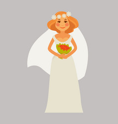 cheerful bride with bouquet vector image vector image