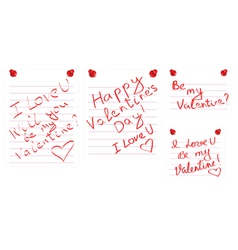 Day of Valentine notes vector image vector image