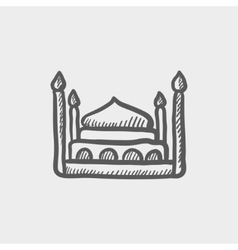 First class room hotel bed sketch icon vector