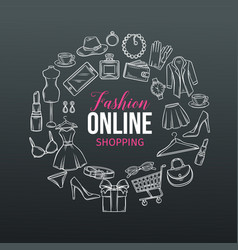 hand drawn set of online fashion shopping icons vector image vector image