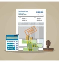 Paper invoice paid stamp calculator cash money vector