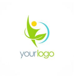 people green leaf organic logo vector image vector image