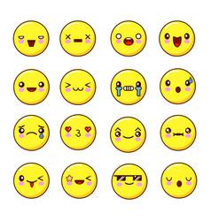 set of emoticons smiles set of emoji flat design vector image vector image