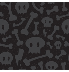 Skulls and bones black pattern vector image
