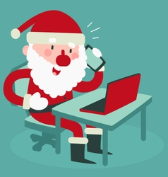 Cute Santa Holding a Cell Phone at the Computer vector image vector image