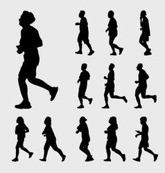 Man and woman running silhouettes set vector