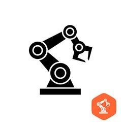 Robotic hand manipulator black silhouette symbol vector image