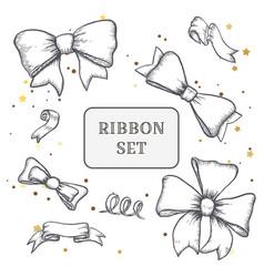 set of vintage hand drawn ribbon bows vector image