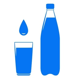 Water drop falling in glass with bottle vector