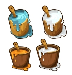 Wooden buckets with blue white and yellow paint vector image vector image