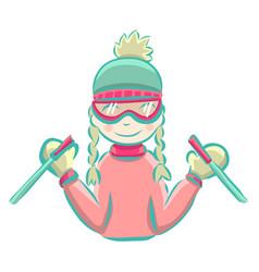 cartoon girl skiing in winter vector image