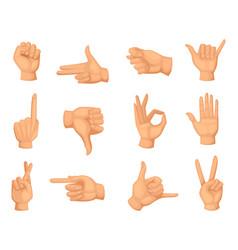 different hands gestures pictures in vector image vector image