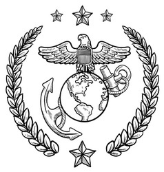 doodle us military wreath marines vector image vector image