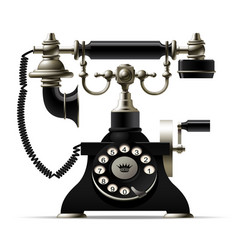 old telephone isolated on white retro rotary dial vector image