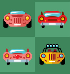 set of cars flat style colorful cartoon vector image vector image