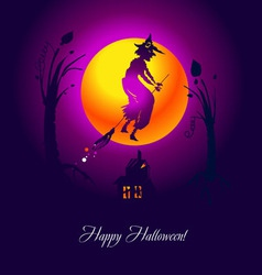 card halloween witch violet vector image