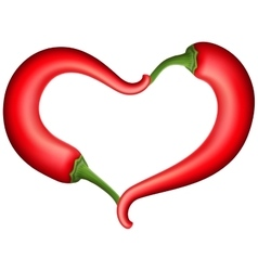 Red chili pepper heart EPS 10 vector image