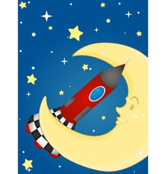 Rocket and moon vector