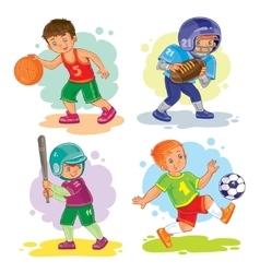 Set icons of boys playing basketball football vector image vector image