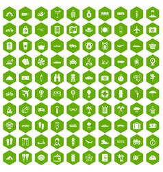 100 travel time icons hexagon green vector