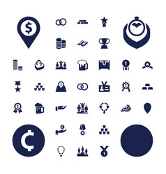37 gold icons vector