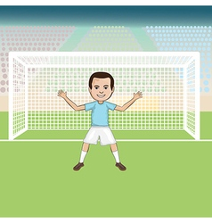 A goal keeper standing in front of a soccer goal vector