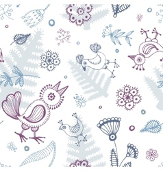 abstract seamless background birds and flowers vector image