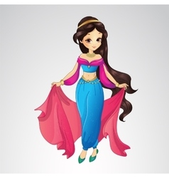 Arabian Princess In Blue Dress vector