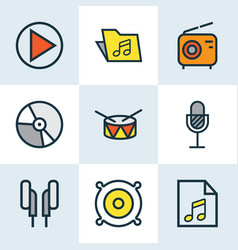 Audio colored outlines set collection of vector