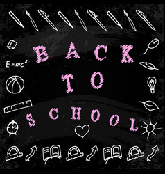 back to school words and hand drawings with vector image