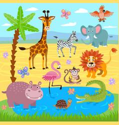 Bajungle and safari zoo animals nature vector