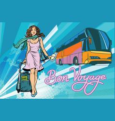 beautiful young woman tourist passenger tour bus vector image
