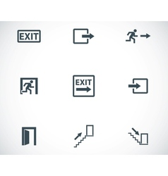 black exit icons set vector image