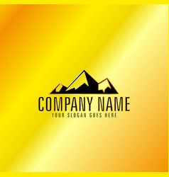 black mountain emblem with golden background vector image