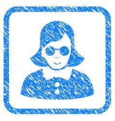 Blind woman framed stamp vector
