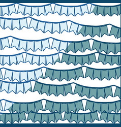 Blue shading silhouette with set of festoons in vector